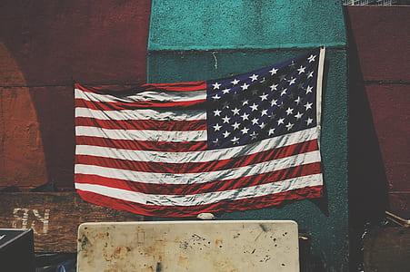 U.S.A. flag hang on green board