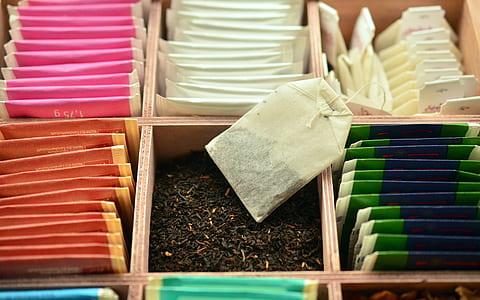 tea sachet lot on organizer