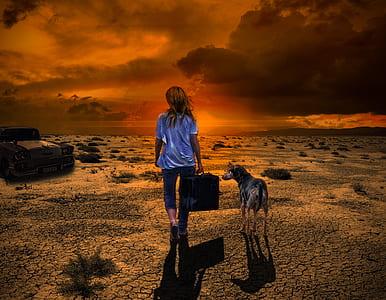 girl holding bag walking with dog digital wallpaper