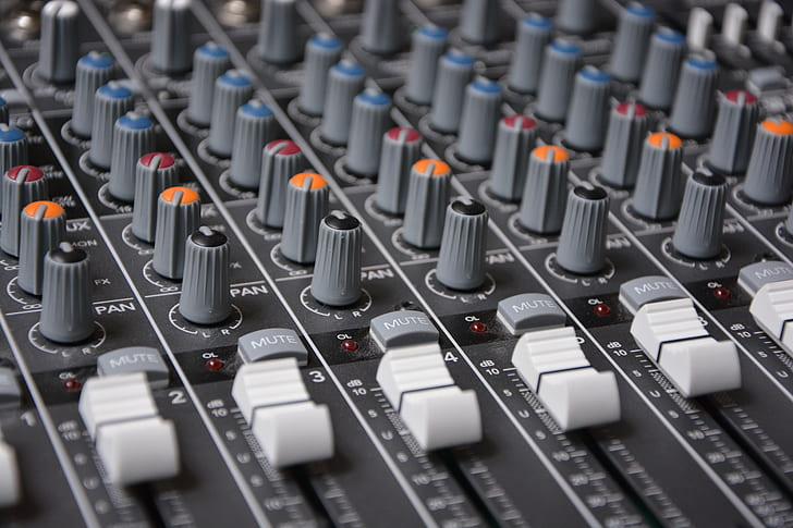 macro shot of gray studio mixer