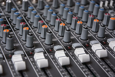 macro shot of gray studio mixer