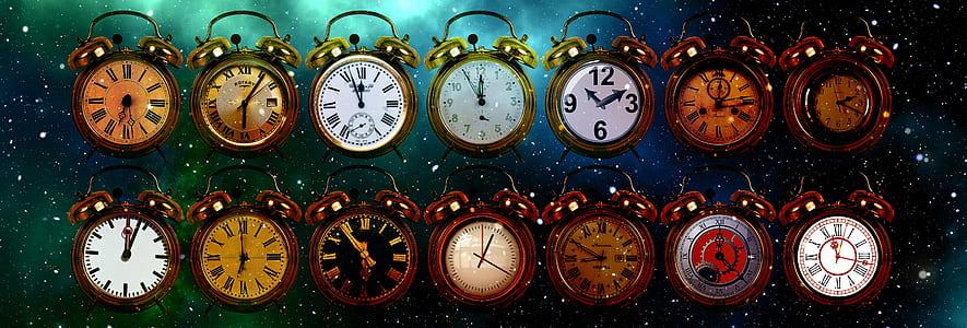 closeup photography of assorted-color analog clock lot