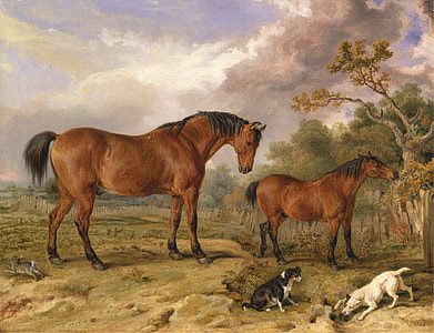 two brown horse paintings