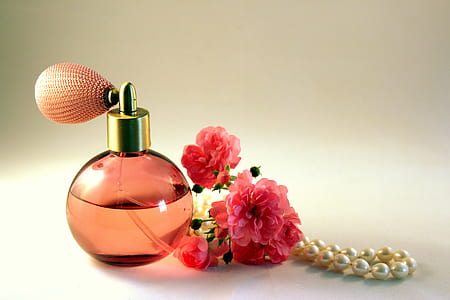 pink glass fragrance bottle