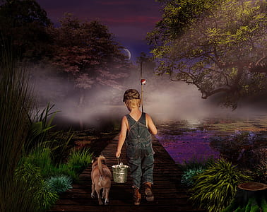 boy with a dog on dock during night time