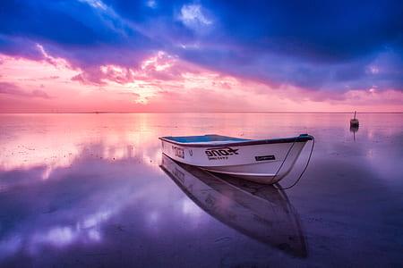 white and blue jon boat