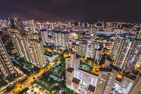 Night shot over the city of Singapore inMalaysia