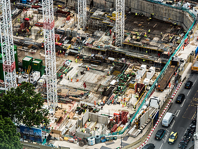 above view photo of unfinished structure with workers