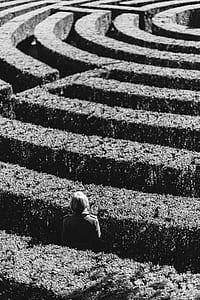 lost, maze, person, solitude, alone