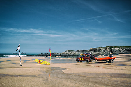 Lifeguard boat and surfboards on a beach in Cornwall in the South-West of England. Image captured with a Canon 5D