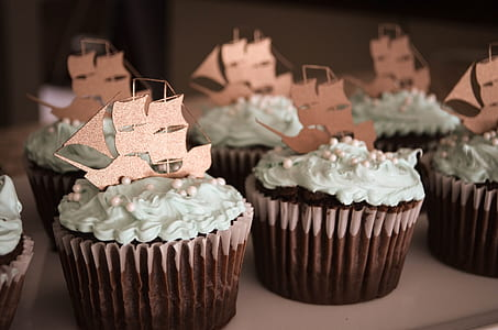 cupcake with ship on top