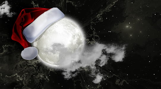moon with santa hat decor