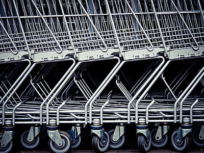 white shopping cart stacked