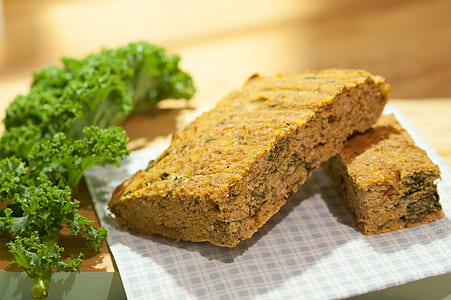 Brown Cake Bar on Blue and White Checked Surface
