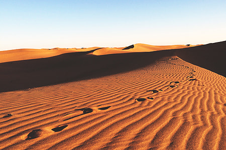 Landscape shot of desert sand dunes in Africa