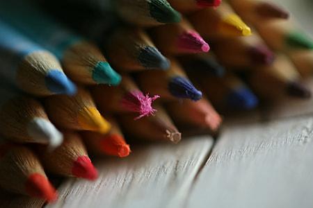 Closeup shot of colour art pencils