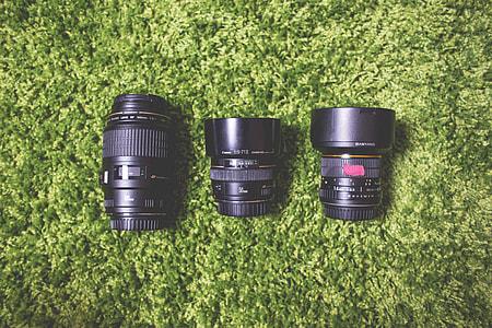 Photography Camera DSLR Lenses on Green Carpet