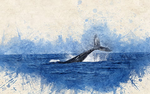 whale swim in water painting