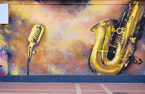 condenser microphone and brass saxophone painting