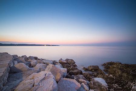 Beautiful Sunset Over Seaside Rocks