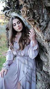 women's grey long-sleeved maxi dress