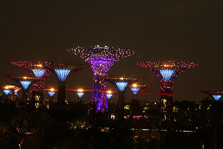 multicolored towers photo during night time