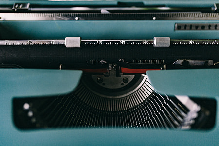 Working with old typewriter in the rainy day