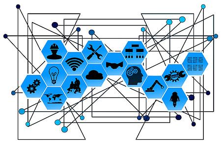 blue and black network illustration