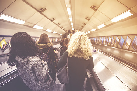 People on the escalators on the London Underground metro system. Image captured with a Canon 6D