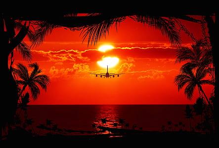 airliner in flight during golden hour