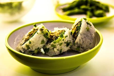White Rice on Green Round Bowl