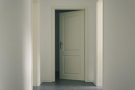 open white wooden 2-panel door