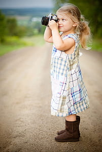 blonde, child, country, cute, daylight, dress
