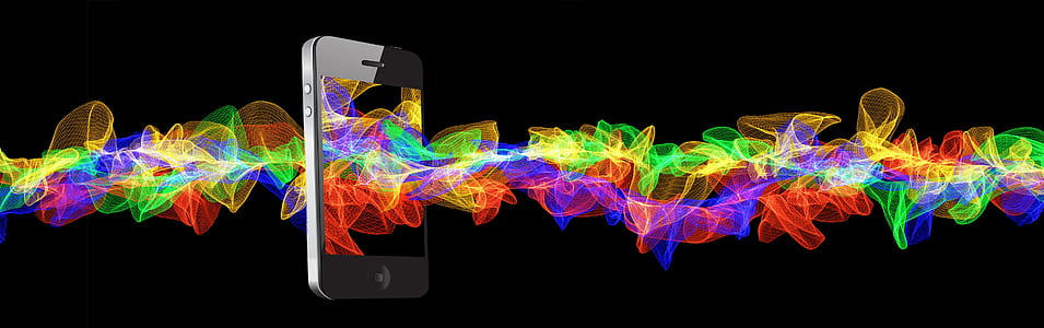 black iPhone 4 with graphic art