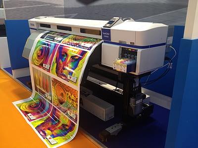 colored printer printing photos