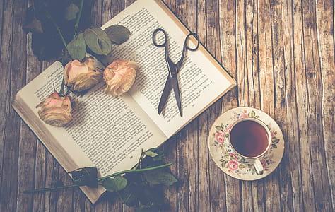 scissors on opened book beside rose near teapot on saucer