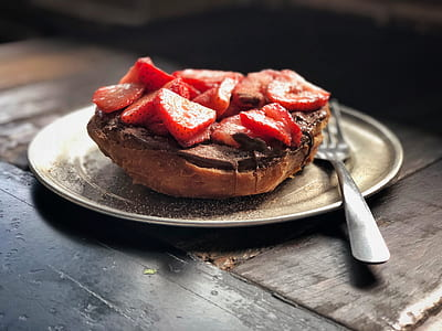 bread covered with chocolate and strawberry