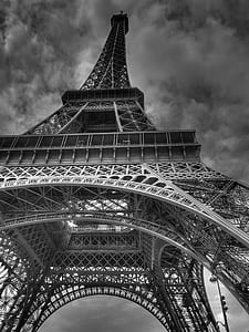 gray scale photo of Eiffel Tower