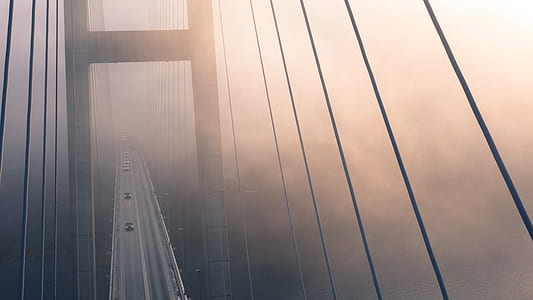 High Angle View of Suspension Bridge Against Sky