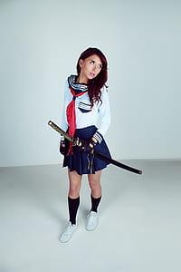 Woman Wearing School Uniform Samurai Outlook Carrying Katana
