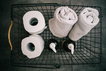 Toiletries in a metal basket