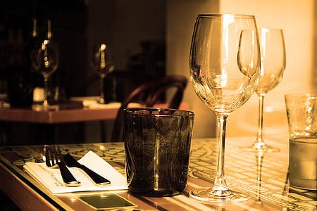 Wine glass on restaurant table