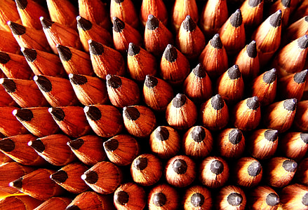 macro photography of pencils