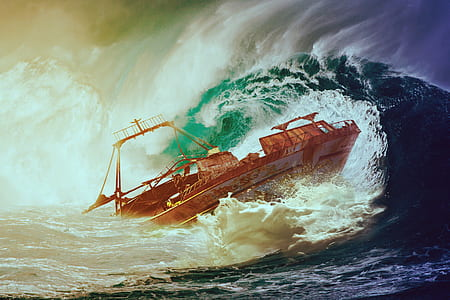 boat sailing on rough ocean waves painting