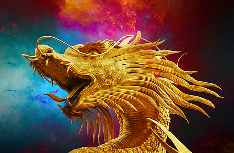 golden dragon digital wallpaper