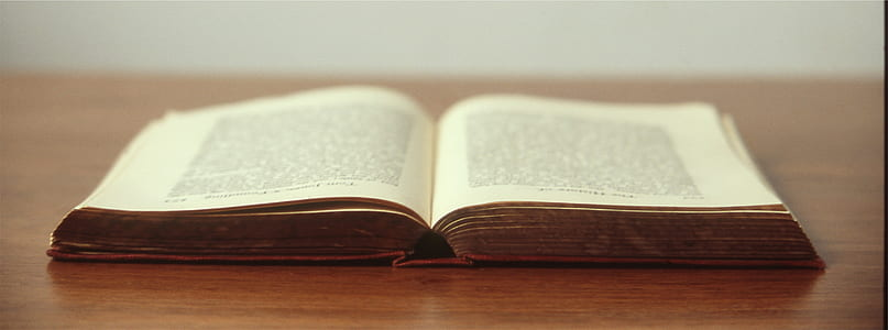 opened book on brown wood