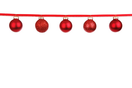 five red baubles