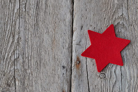 red David's Star on gray wood surface