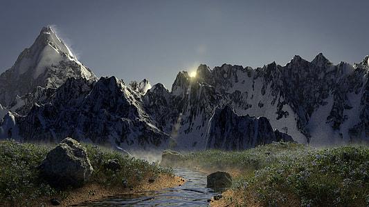 white mountain near river during sunrise