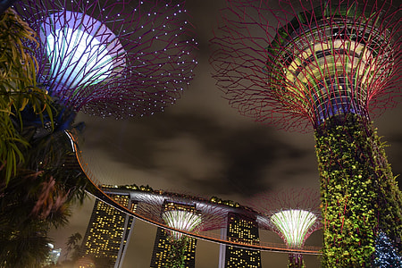 Marina Bay sands with lights during night time